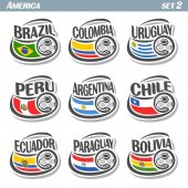 Fotografie Vector set icons of Flags American National Teams