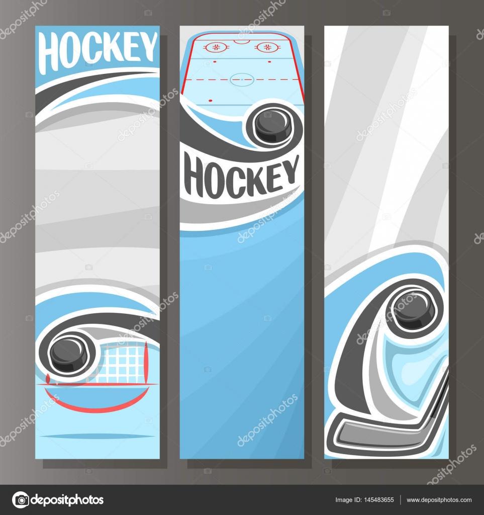 Vector Banners verticales para hockey sobre hielo — Archivo Imágenes ...