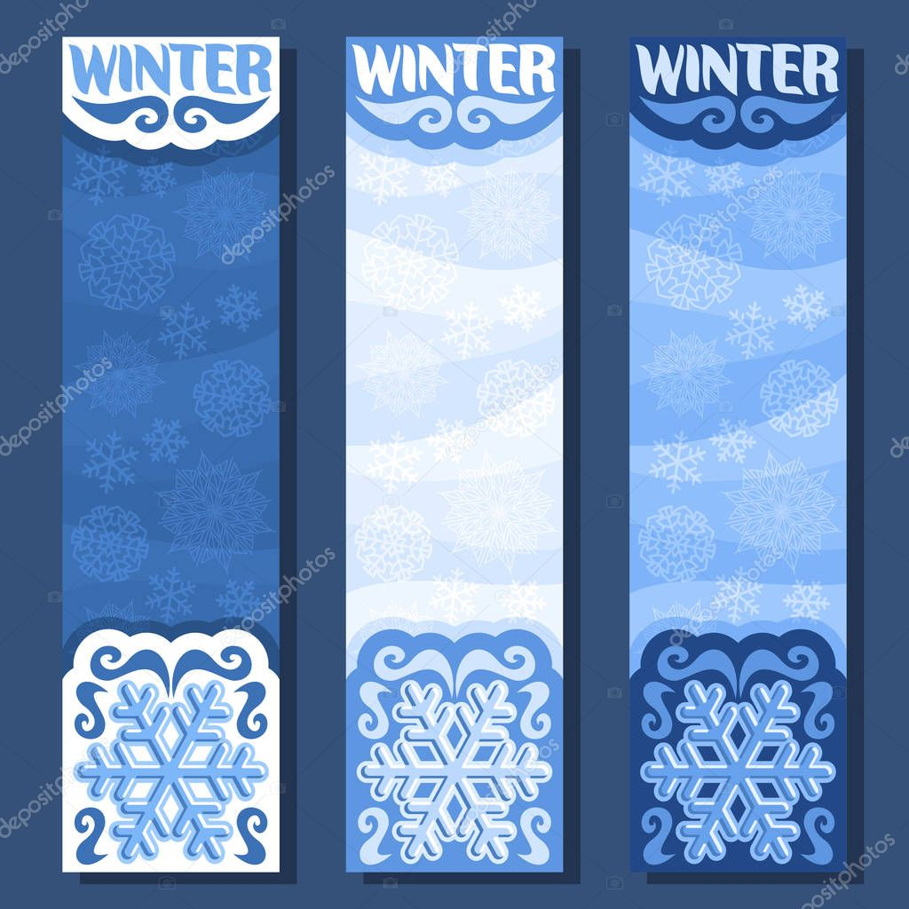 Vector set vertical banners for Winter season