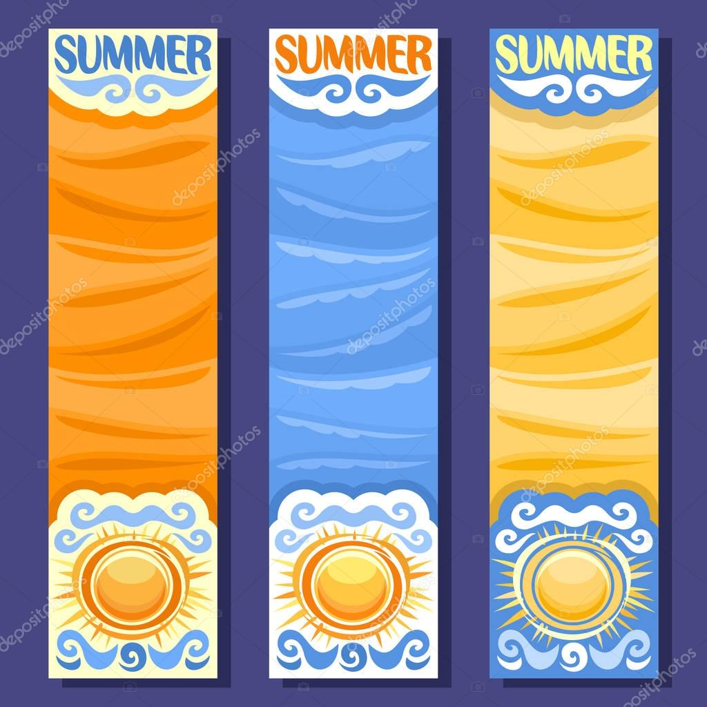 Vector set vertical banners for Summer season
