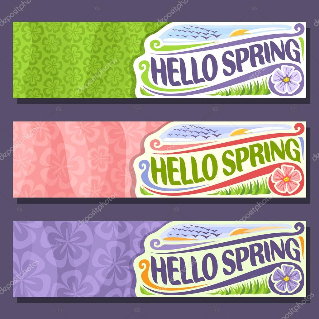 Vector set horizontal banners for Spring season