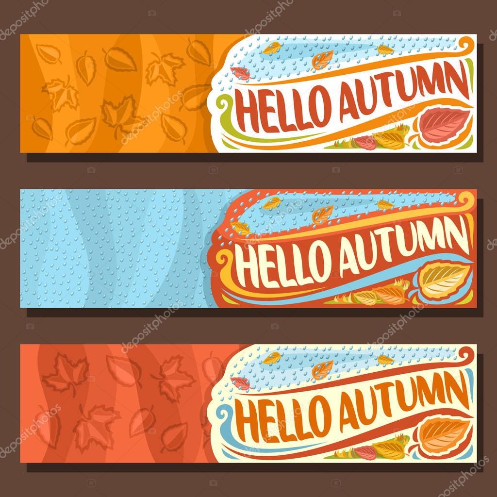 Vector set horizontal banners for Autumn season