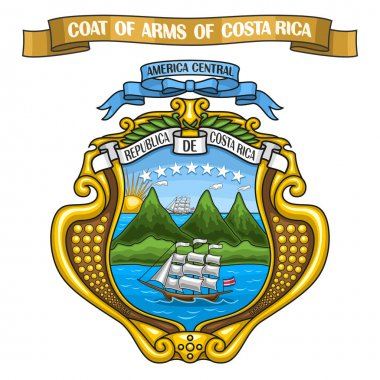 Vector illustration Costa Rican Coat of Arms
