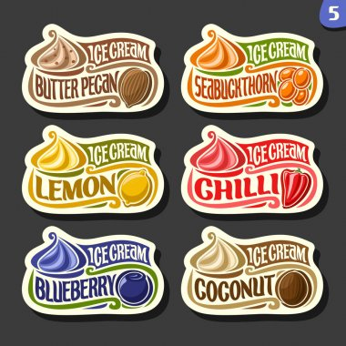 Vector set of fruit Ice Cream labels