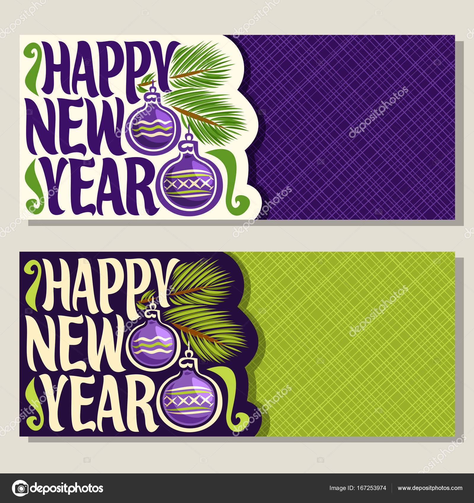 Vector Greeting Cards For New Year Stock Vector Mihmihmal 167253974