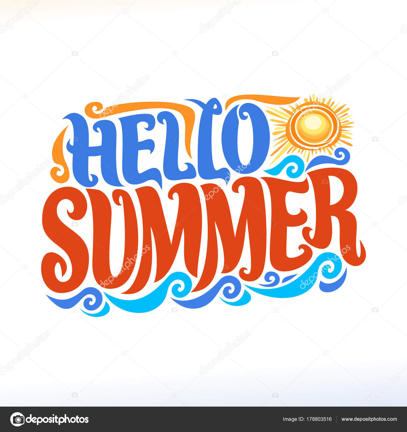 Vector Poster For Summer Season Lettering Typography Calligraphic Sign Decorative Handwritten Font Brush Text Hello