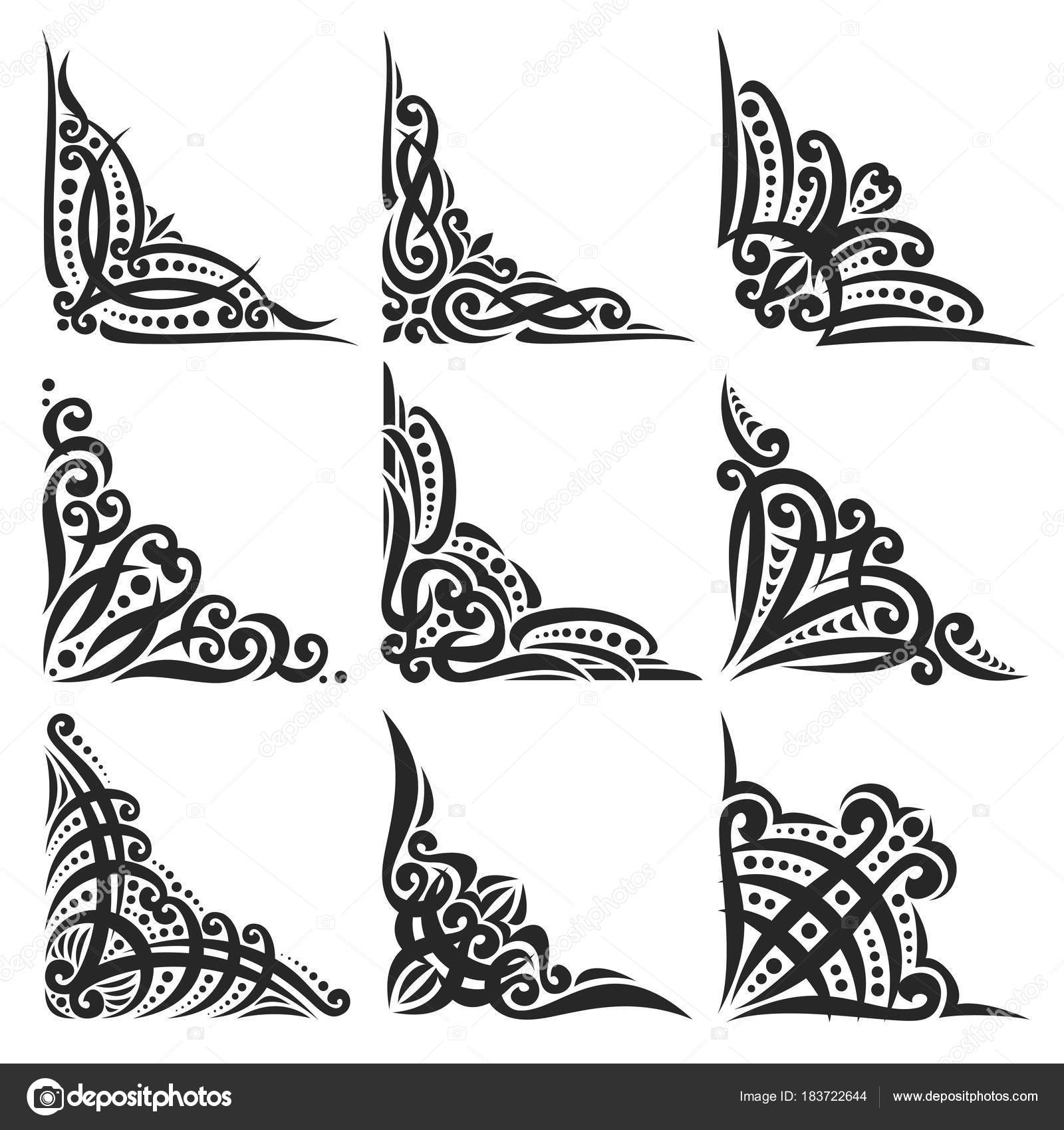 Vector Set Decorative Black Corners White Creating Frames Ornate
