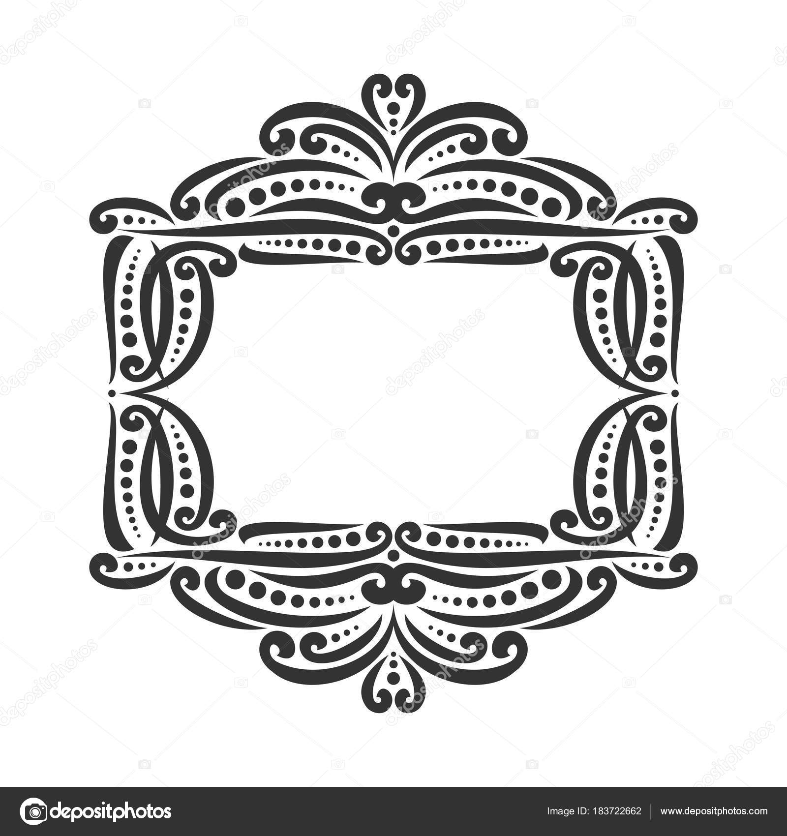 Vector decorative black frame white ornate decoration flourishes decoration with flourishes for wedding invitation vintage filigree border with curls and dots ornament with sophisticated victorian design elements junglespirit Images