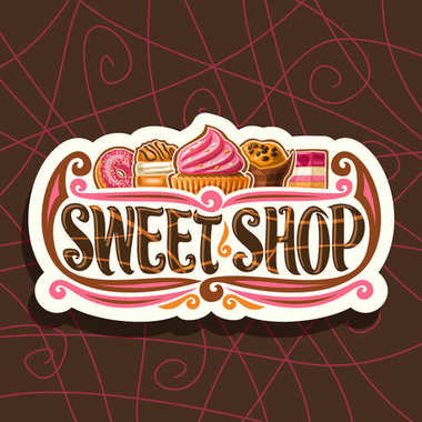 Vector logo for Sweet Shop, cut paper vintage signboard for gourmet confectionery, 5 pink choux pastry desserts with cream, original brush typeface for words sweet shop, label for french patisserie.