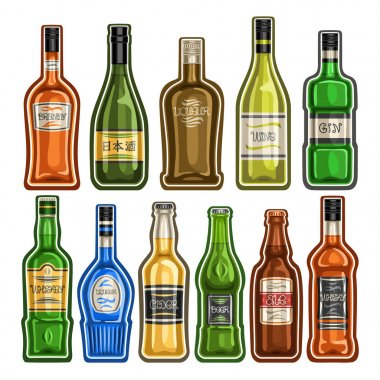 Vector set of different Bottles, 11 full glass containers with colorful premium alcohol drinks various shape, collection cartoon icons of hard liquor bottles for bar menu isolated on white background.