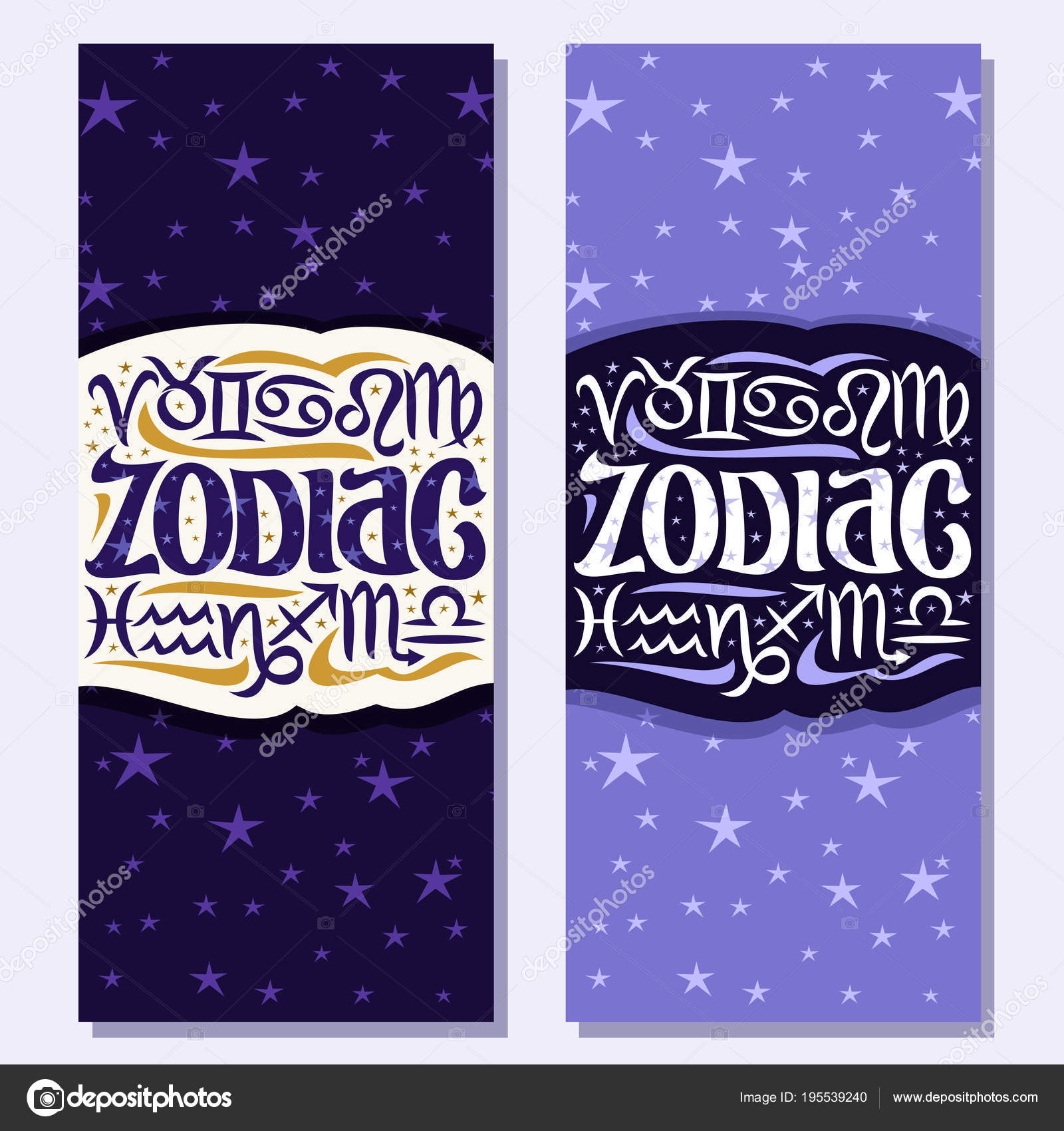 Vector Vertical Banners Zodiac Symbols Astrology Signs Predicting