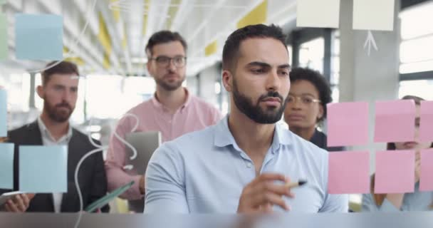 Close up of male office worker thinking and using glass board ato solve problem task. Diverse coworkers at meeting standing and looking at team leader near glass wall with sticky notes.