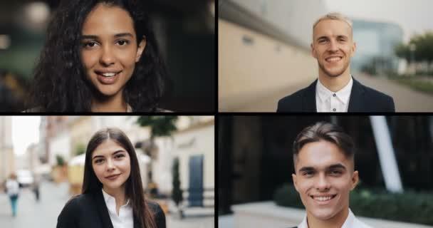 Koláž mladých úspěšných podnikatelů. Portréty mužů a žen hledících do kamery. Rozdělit koláž obrazovky, Multi Screen. Koncept podnikatelů.