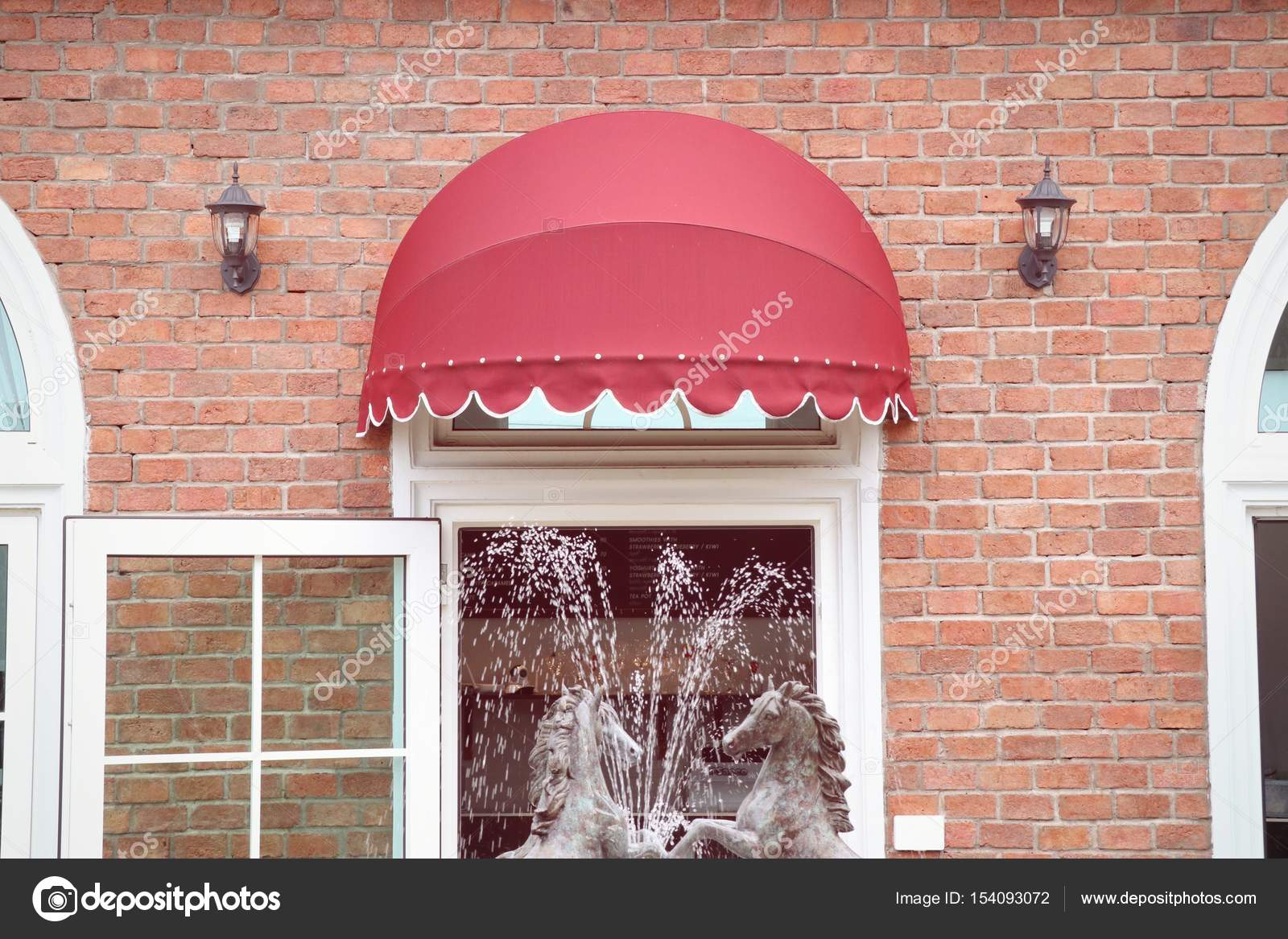 Red Awning On Building Vintage Stock Photo C Oilslo 154093072