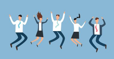 Happy excited business people, employees jumping together. Successful team work. Flat vector illustration.