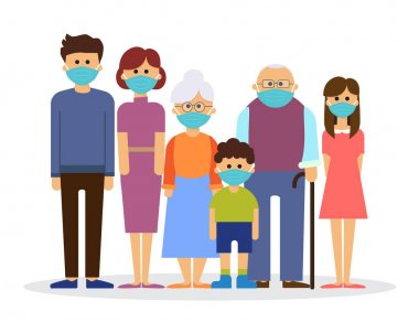 big family wearing with medical mask to prevent virus, vector illustration