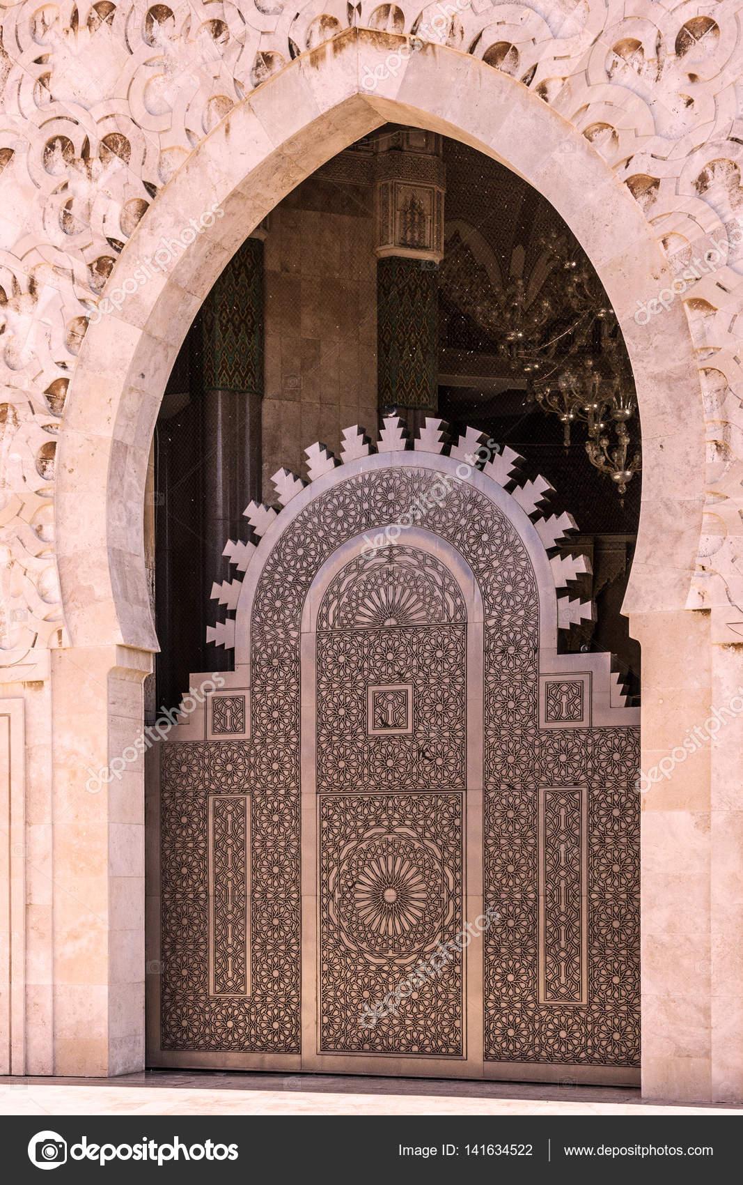 Mosque Door, Casablanca, Morocco. Mosque Hassan II U2014 Stock Photo