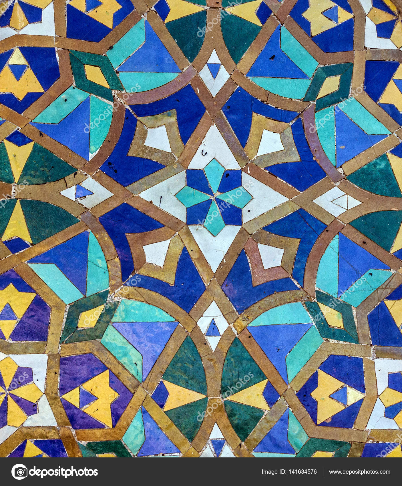 Moroccan mosaic tile, ceramic decoration of Hassan II Mosque — Stock ...