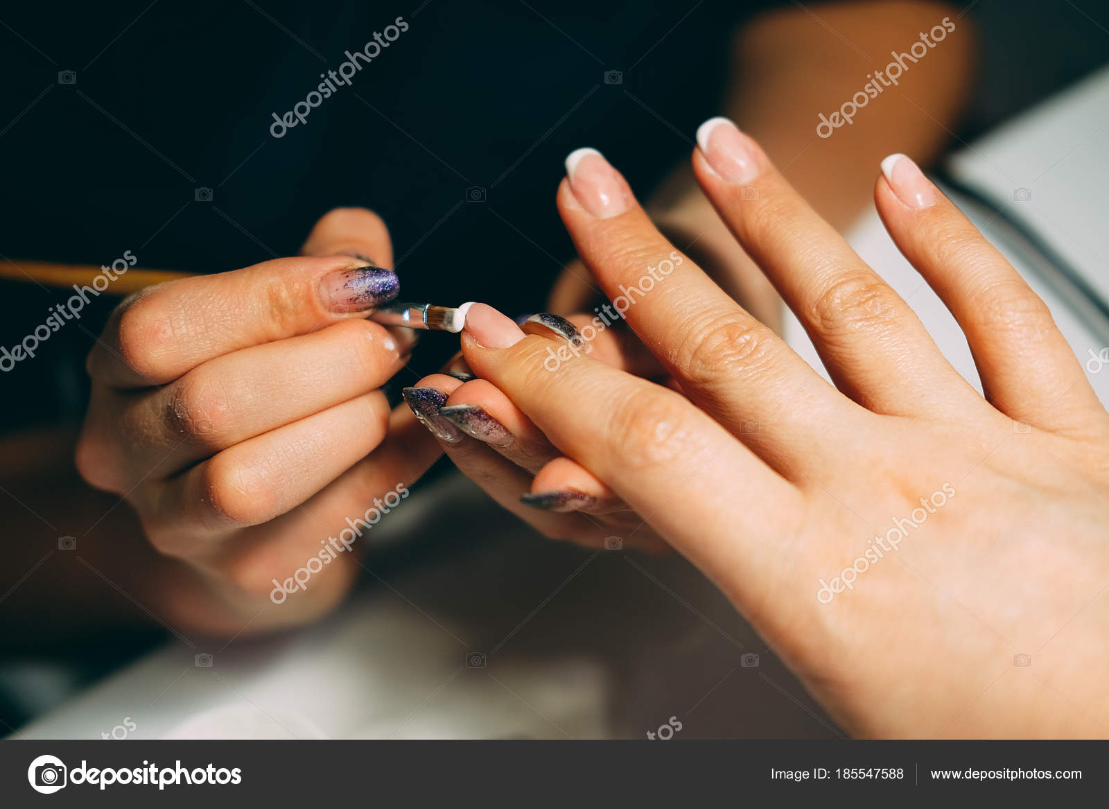 Gel nail extensions build up process — Stock Photo © different_nata ...