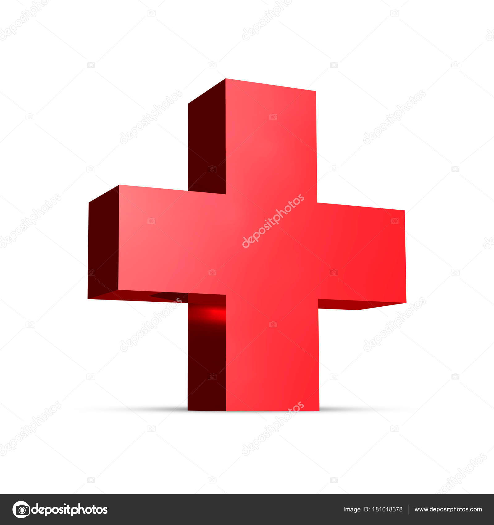 Medical Red Cross Rendering Sign Illustration Isolated White