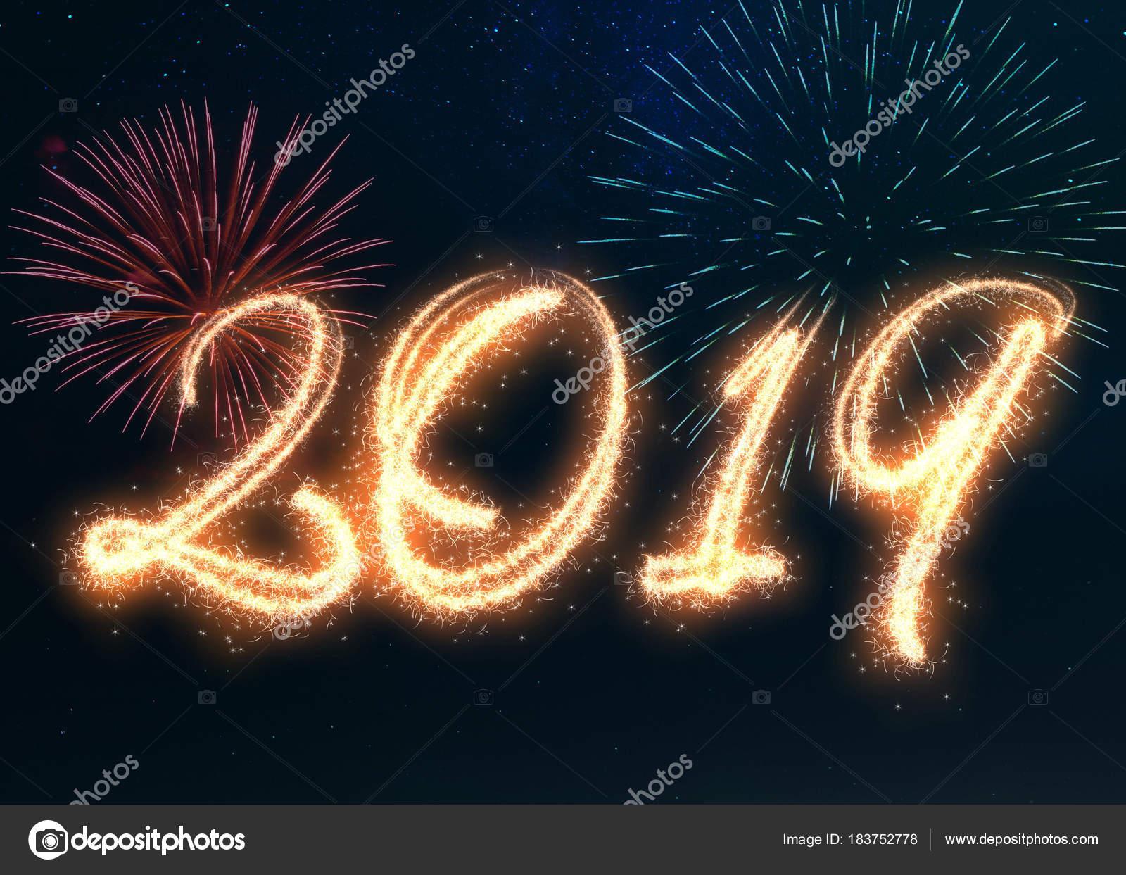 heureuse nouvelle ann e 2019 crit avec feux artifice sparkle affich e photographie soraya. Black Bedroom Furniture Sets. Home Design Ideas