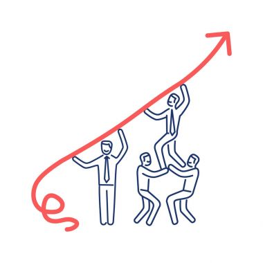 business icon of team cooperation