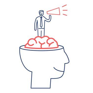 Mind power. business illustration of businessman inside brain