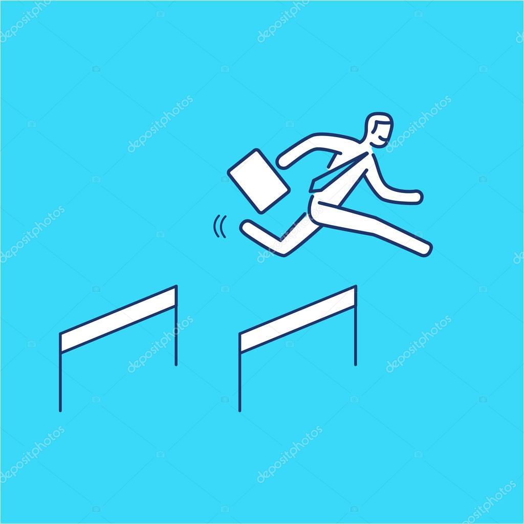 Business hurdler. business illustration of businessman jumping