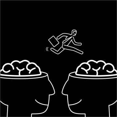 businessman jumping from one brain to other
