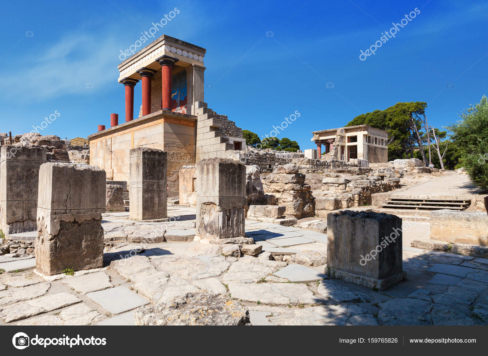 Knossos palace with ancient columns of the minoan civilization knossos palace with ancient columns of the minoan civilization and culture at heraklion without people crete greece photo by honzahruby sciox Images