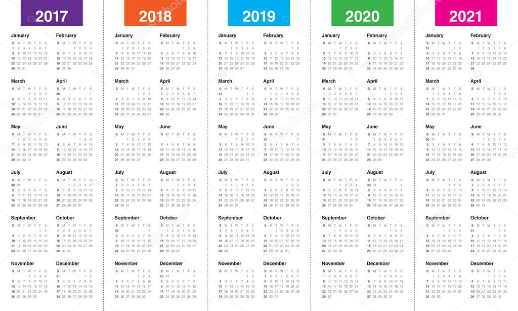 Simple Calendar template for 2017 to 2021 — Stock Vector ...