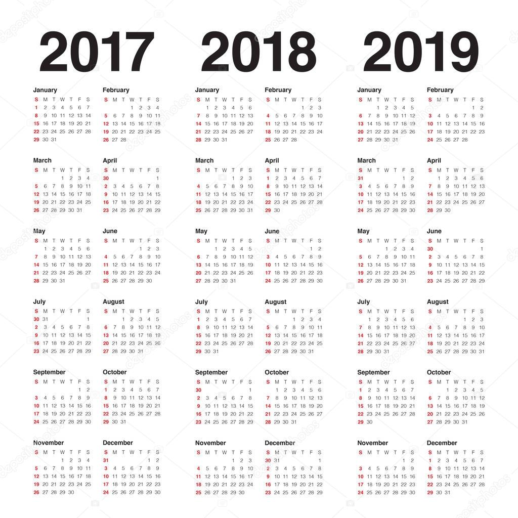 Simple Calendar Template For 2017 To 2019 Stock Vector