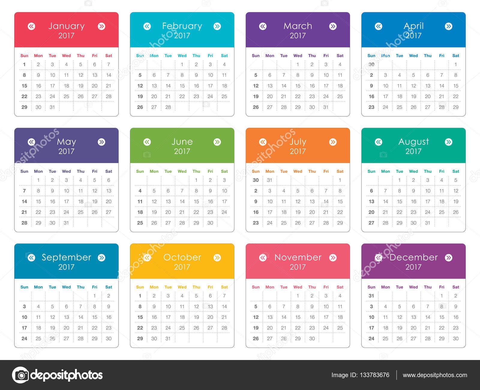 Calendario Anno 2017.Disegno Di Vettore Del Calendario Anno 2017 Vettoriali