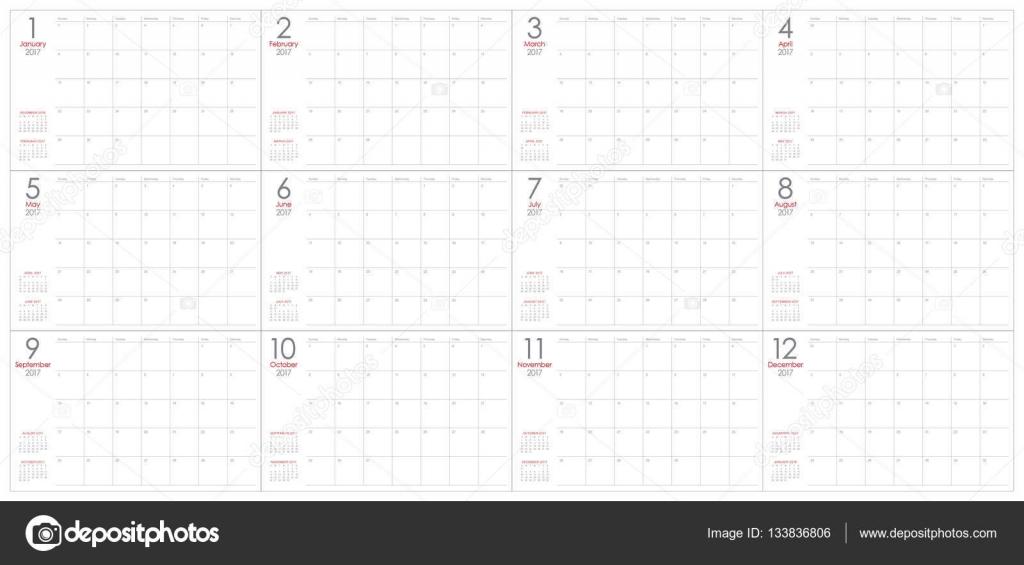 Year 2017 Table Calendar Vector Design Template Stock Vector