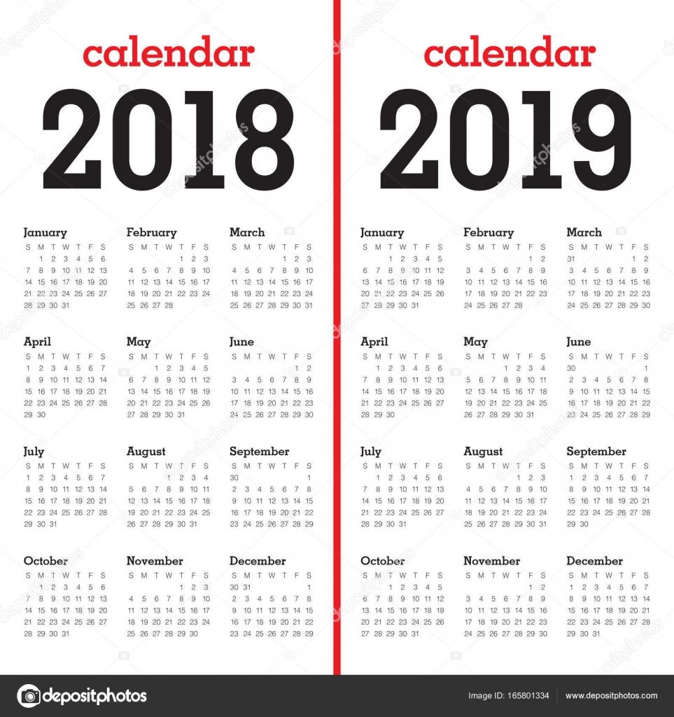 Calendar Template Landscape 2019