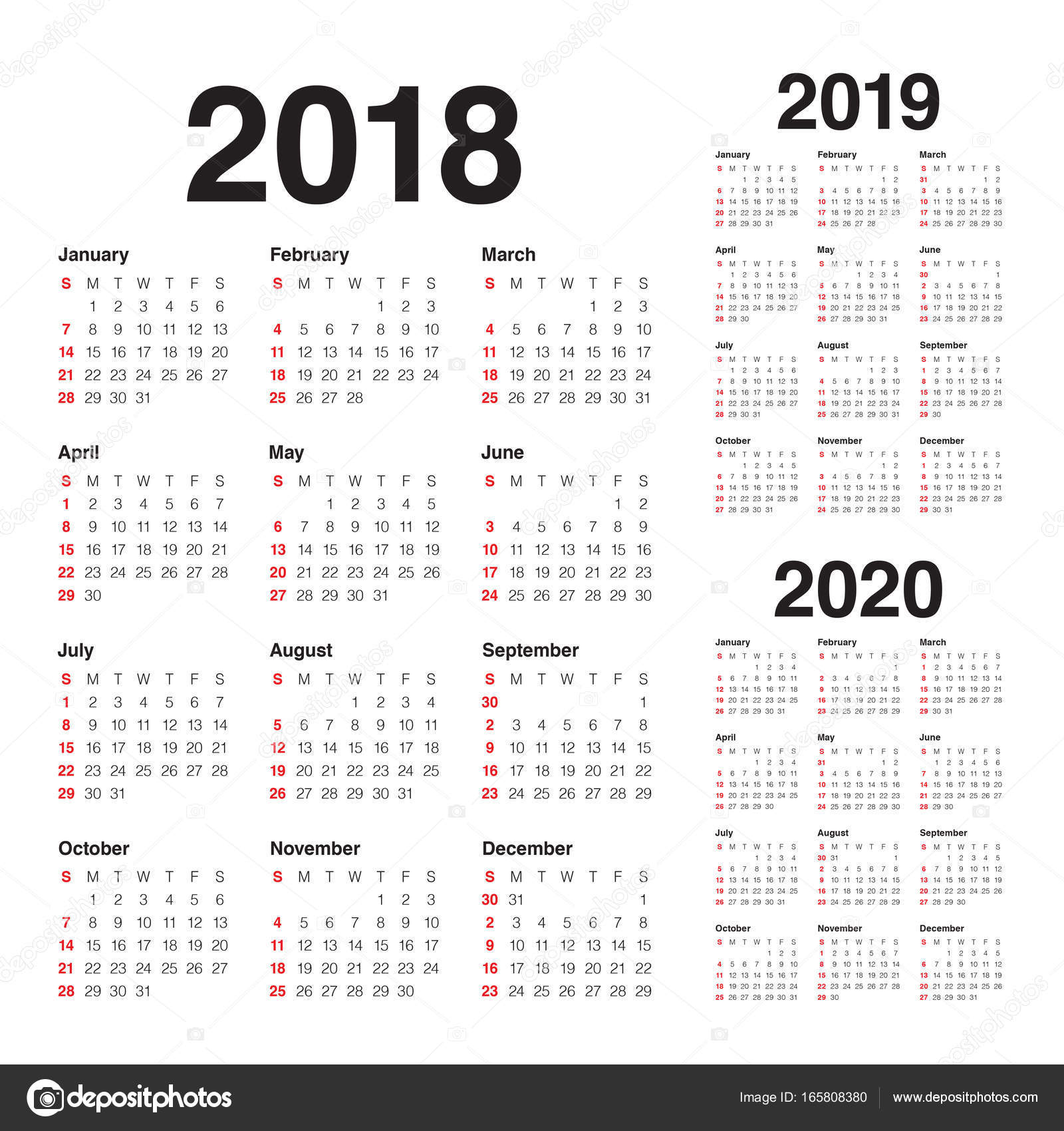 Calendario 2020 Vector Gratis.Year 2018 2019 2020 Calendar Vector Stock Vector
