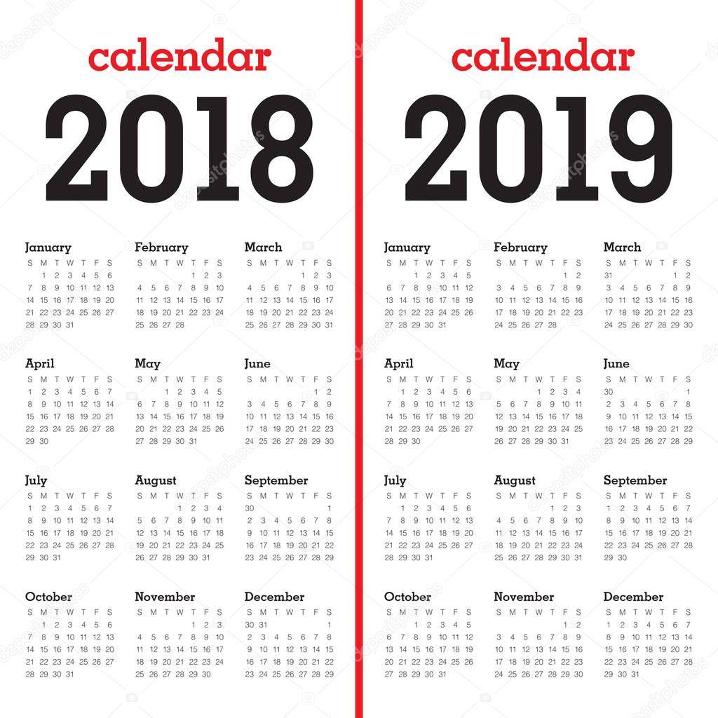Vecteur de calendrier de l'année 2018 2019 — Image ...