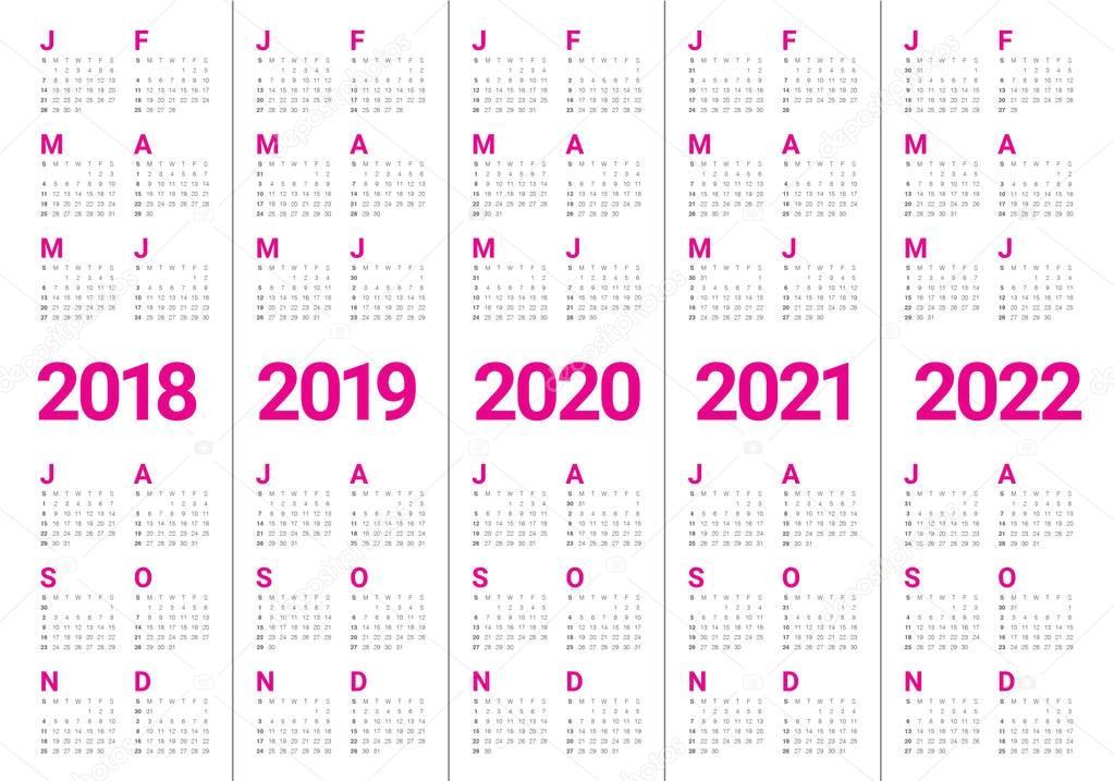 Vetor de calendário ano 2018 2019 2020 2021 2022 — Vetor ...