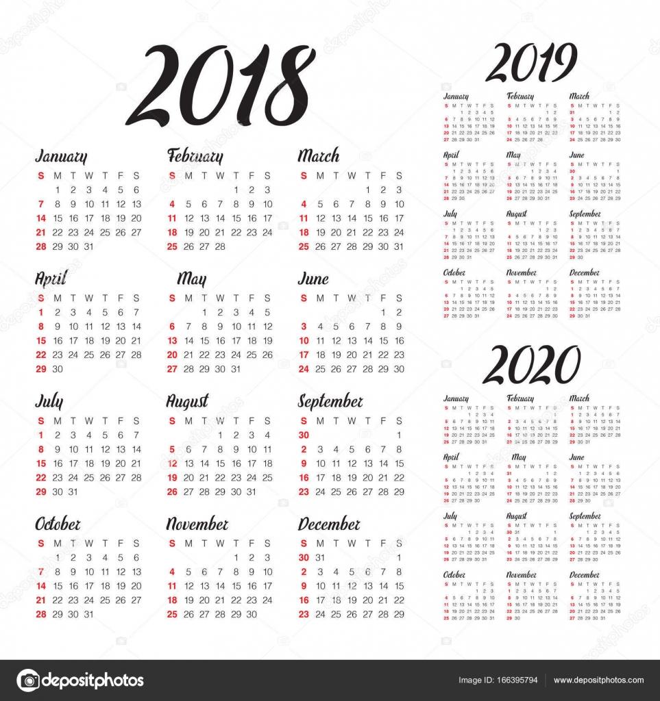 2020 naptár Év 2018 2019 2020 naptár vektor — Stock Vektor © dolphfynlow  2020 naptár
