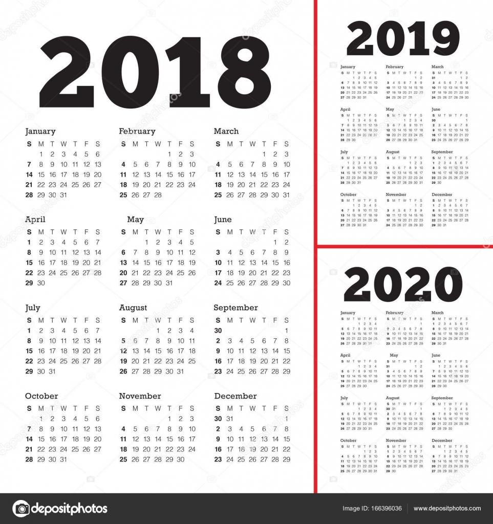 3 Year Calendar 2018 To 2020