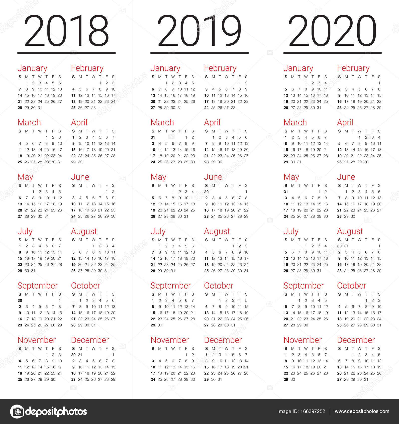 year 2018 2019 2020 calendar vector stock vector dolphfynlow 166397252