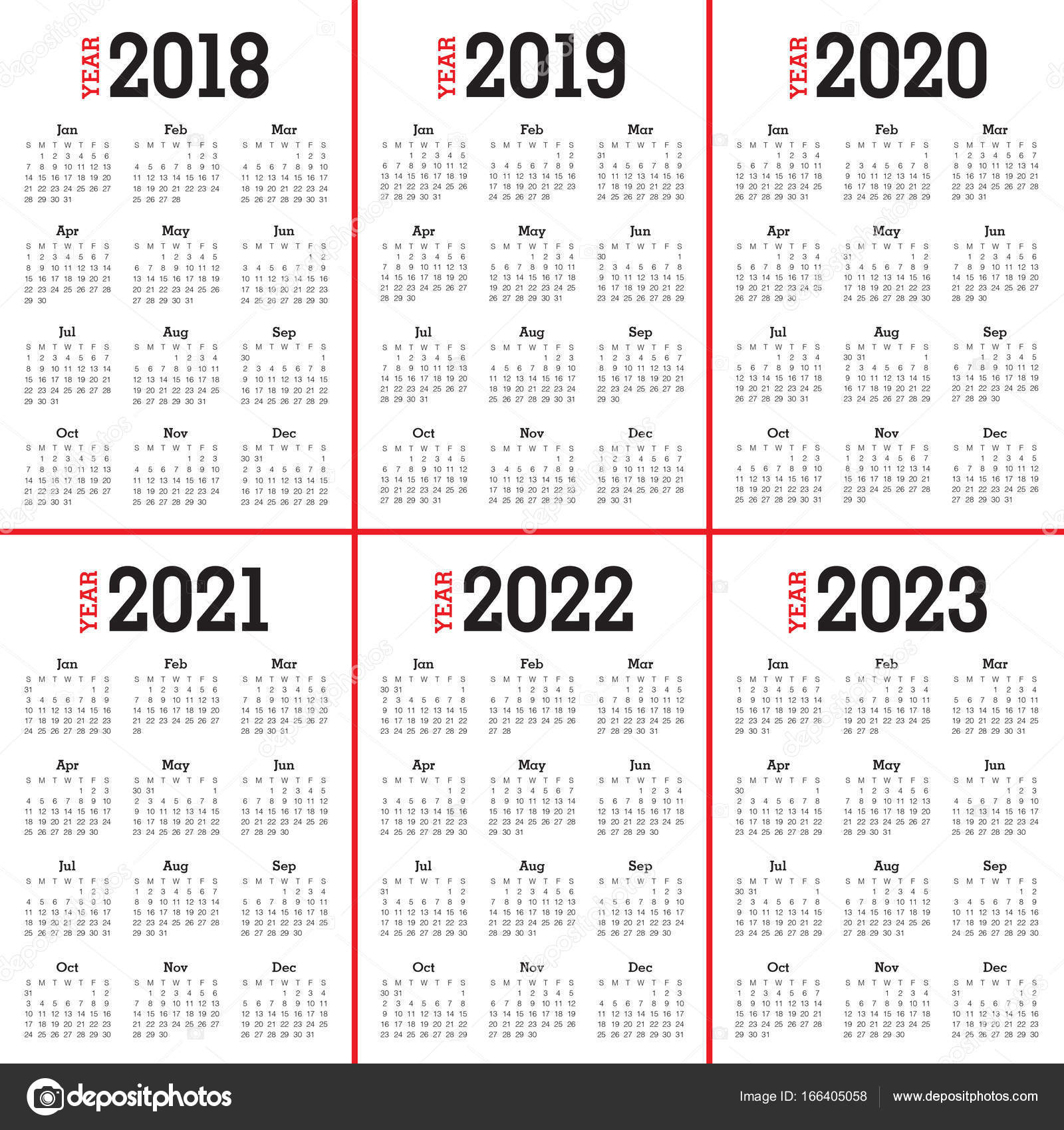 Calendario 2020 Vector Gratis.Year 2018 2019 2020 2021 2022 2023 Calendar Vector Stock