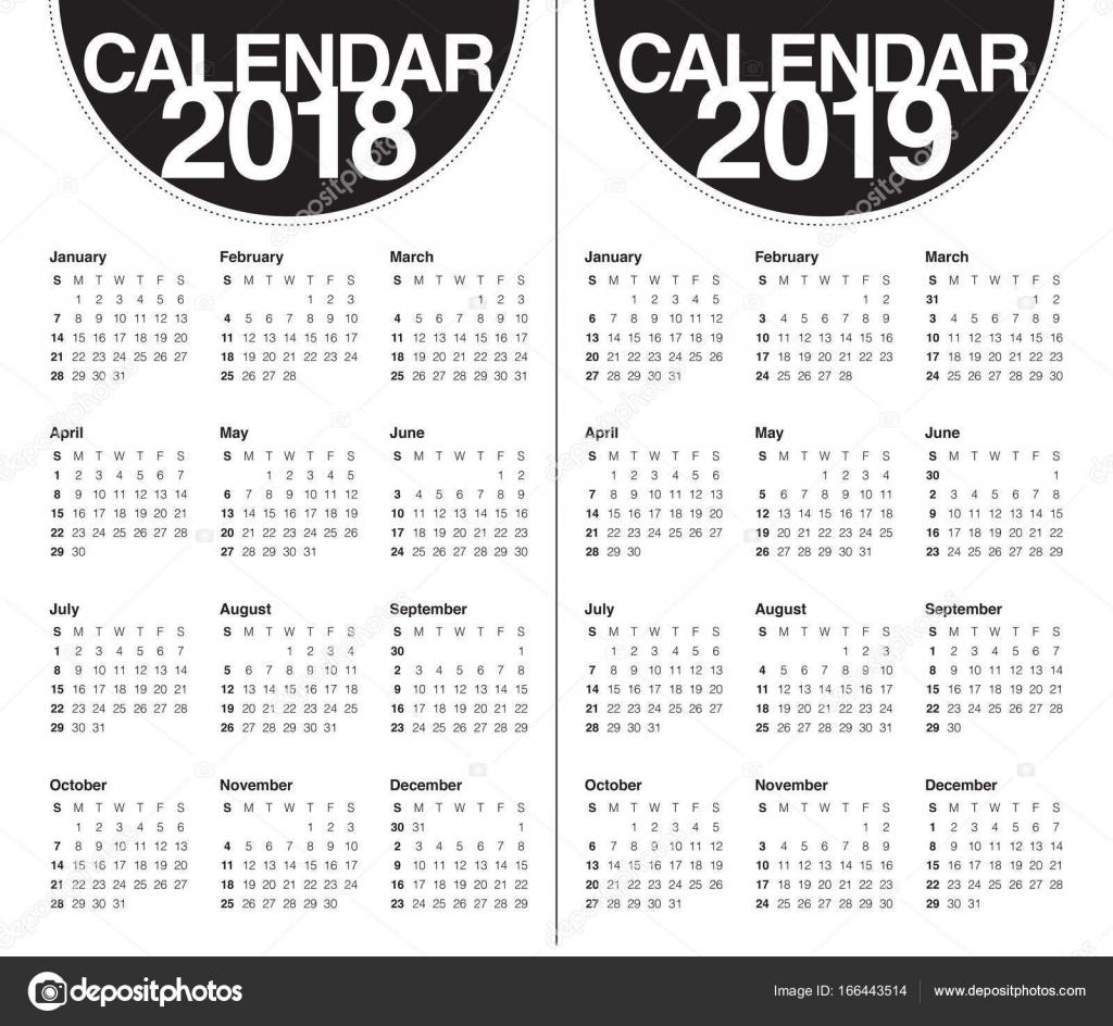 Calendario 2018 2019.Year 2018 2019 Calendar Vector Stock Vector C Dolphfynlow