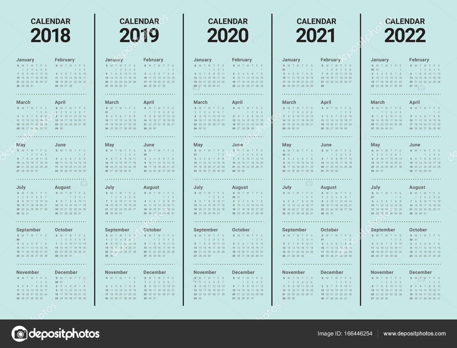 year 2018 2019 2020 2021 2022 calendar vector stock vektor dolphfynlow 166446254