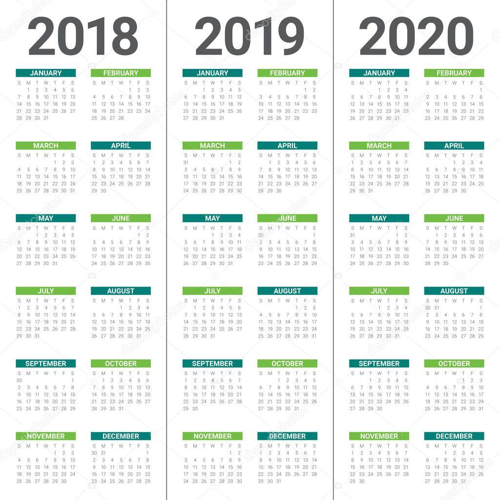 vetor de calend u00e1rio ano 2018 2019 2020  u2014 vetores de stock