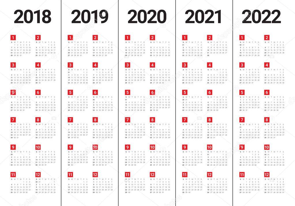 Persian Calendar 2022.Year 2018 2019 2020 2021 2022 Calendar Vector Design Template Simple And Clean Design Premium Vector In Adobe Illustrator Ai Ai Format Encapsulated Postscript Eps Eps Format