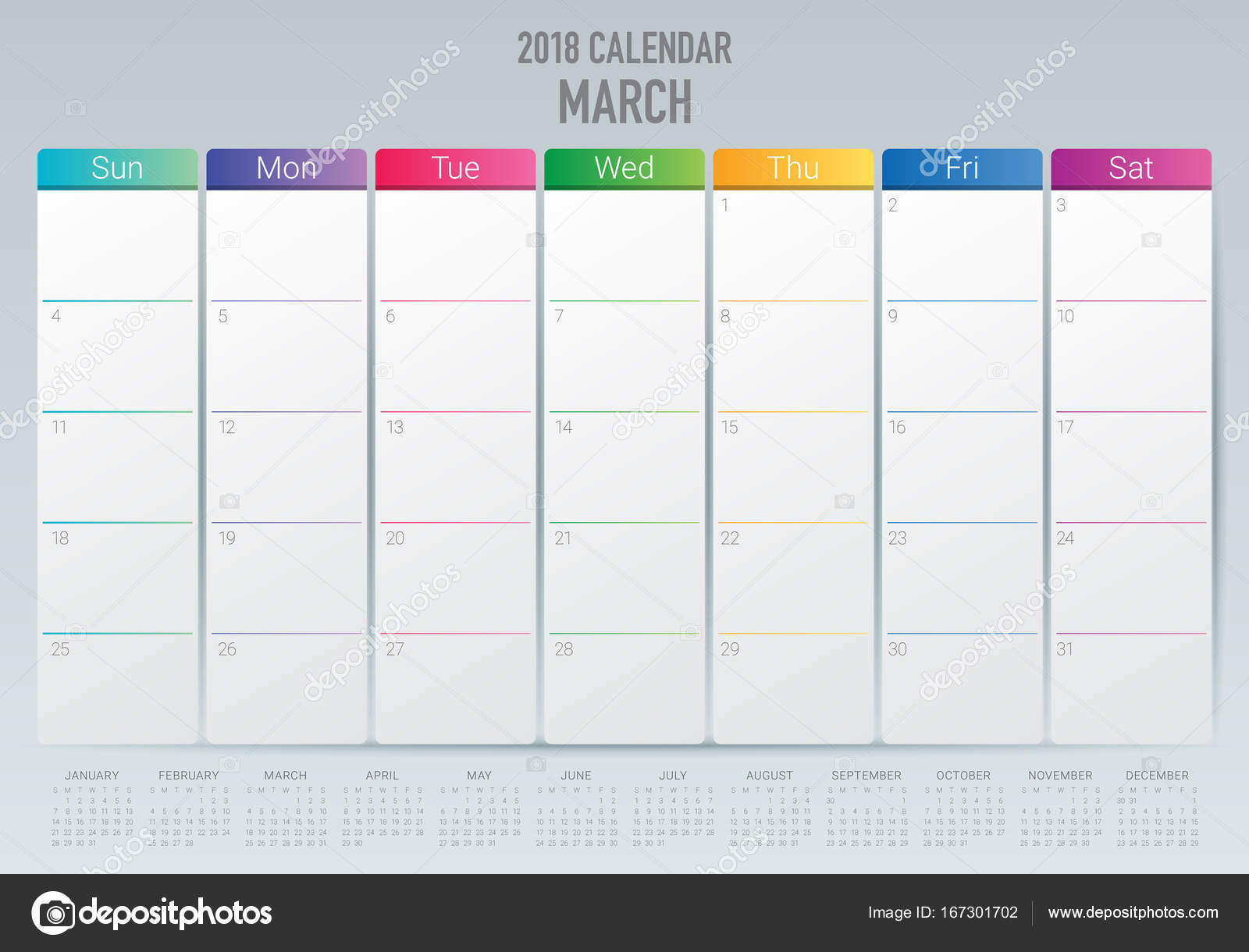 March 2018 Calendar Planner Vector Illustration Stock