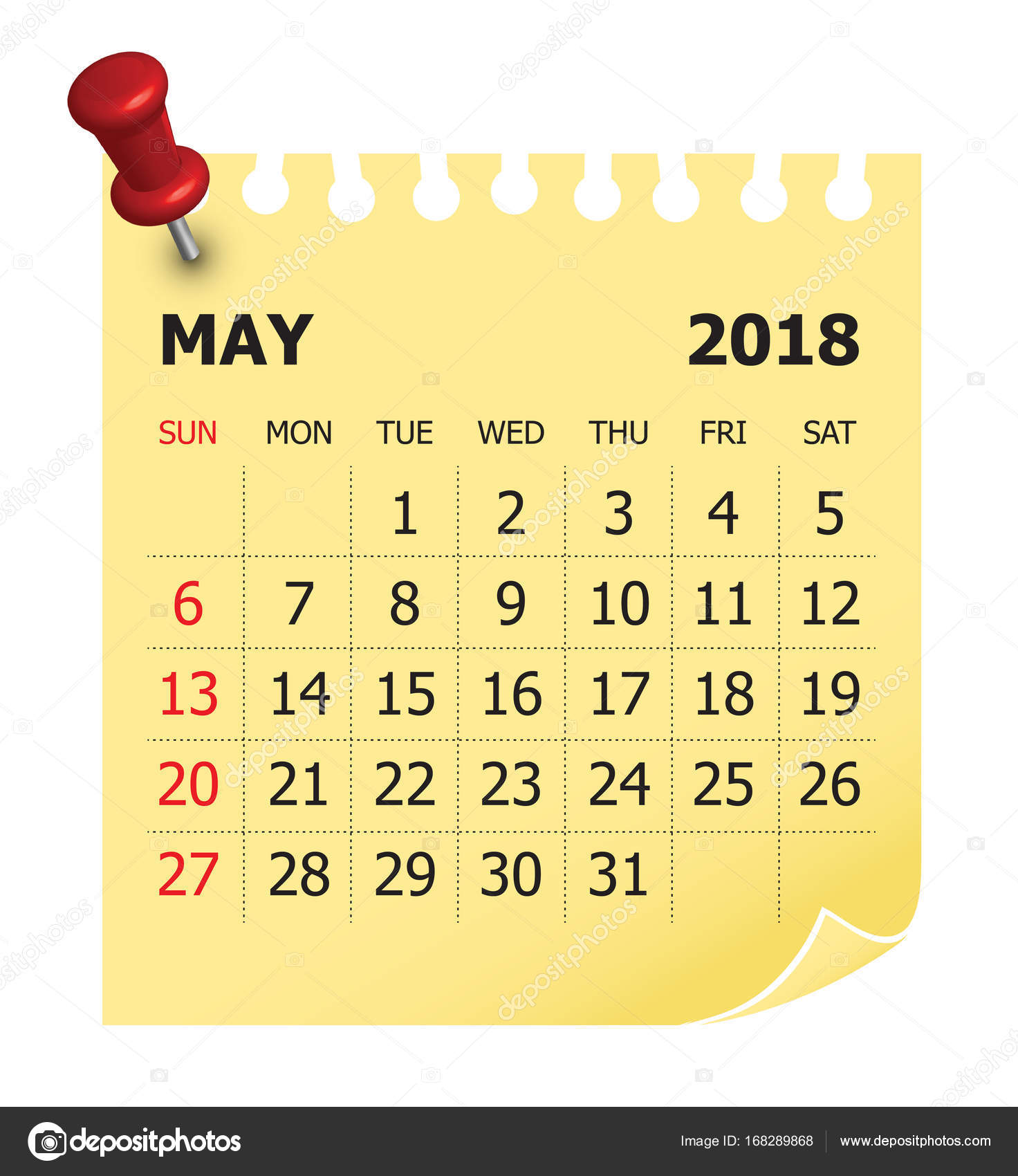 may 2018 calendar vector illustration stock vector
