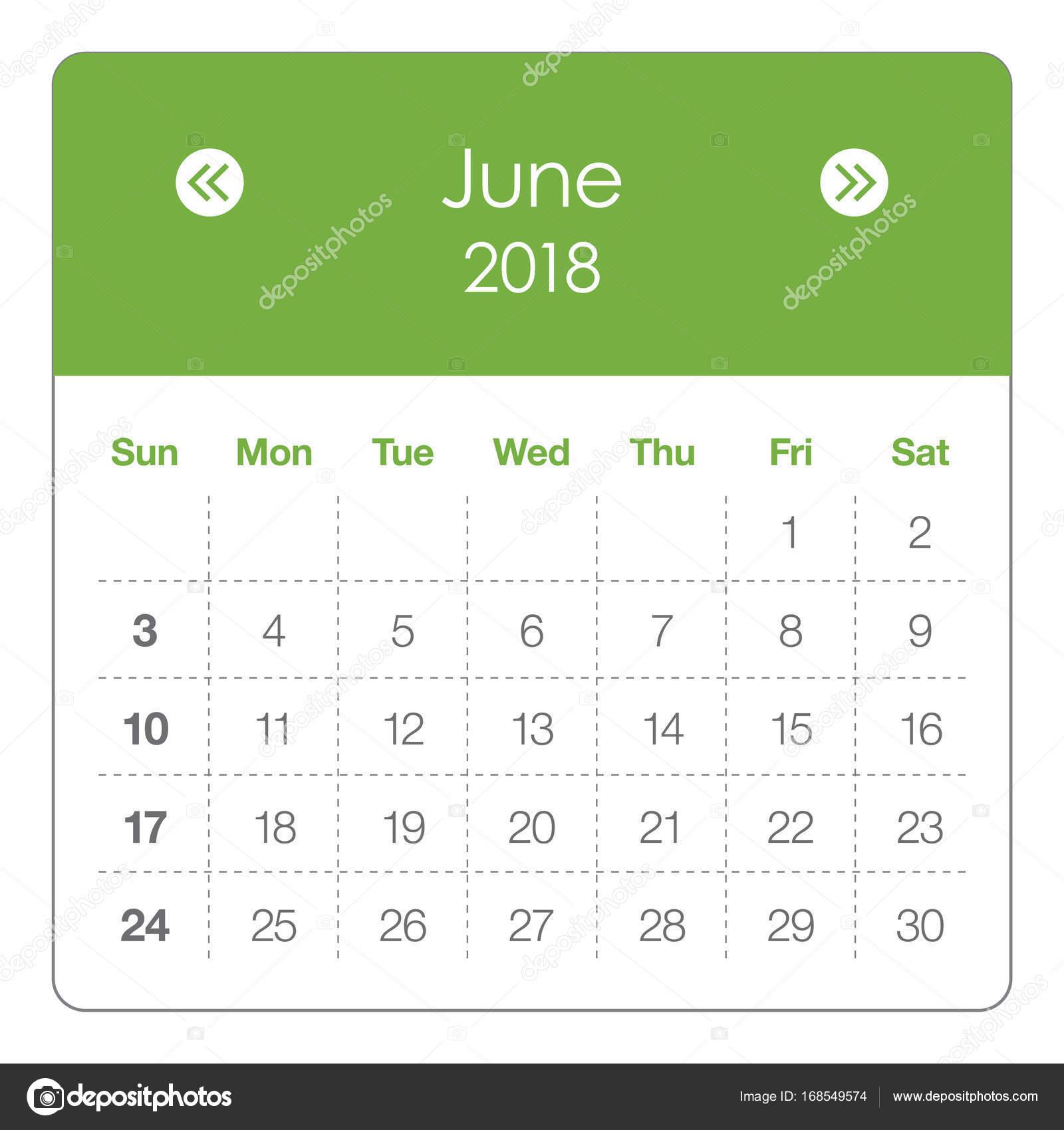 June Calendar Vector : June calendar vector illustration — stock