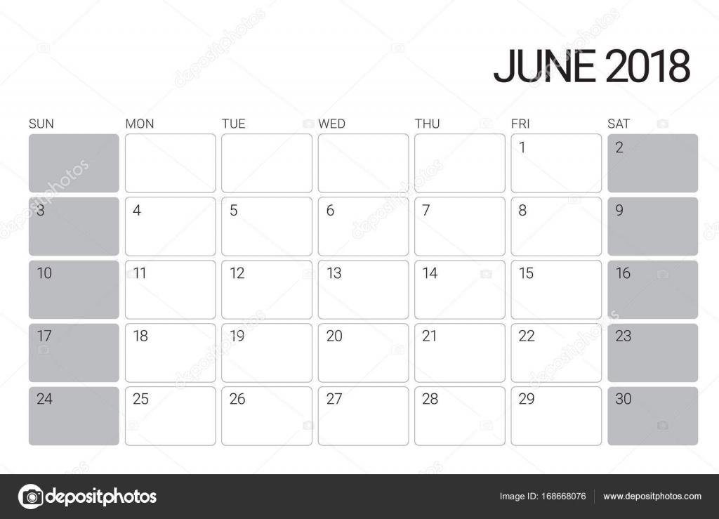 június naptár 2018 június asztali naptár vektoros illusztráció — Stock Vektor  június naptár